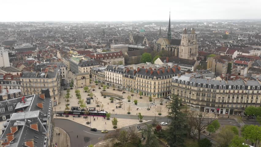 France, Dijon, Porte Guillaume, by drone Royalty-Free Stock Footage #1027847723
