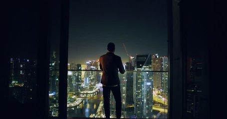 Young Entrepreneur Walkling Toward City Sky Scrapers Dubai Urban Panorama Futuristic Digital Nomad Night Downtown Slow Motion Red Epic 8k