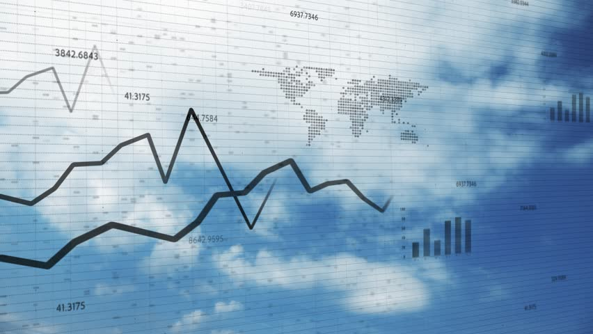 Artistic 3d financial business chart with diagrams, graphs and stock numbers on blue sky time lapse motion background.  | Shutterstock HD Video #1027883054