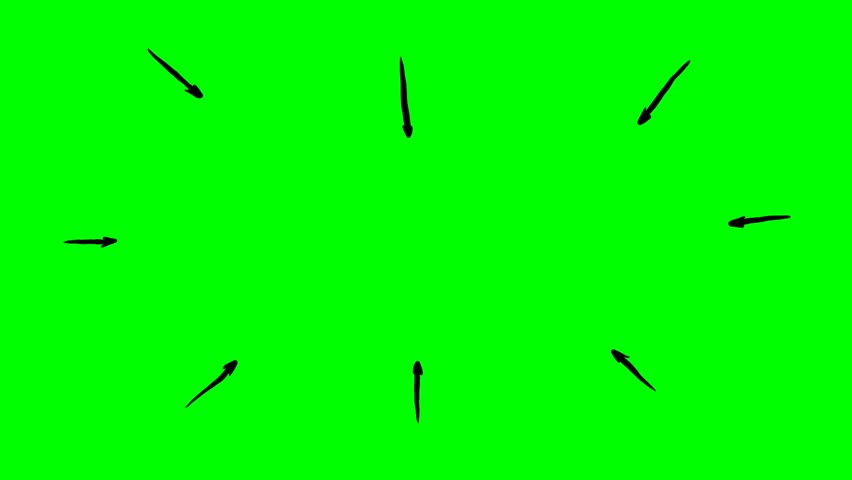 Handdrawn Arrows showing towards highlighted circle on green screen. Stop motion presentation template.
