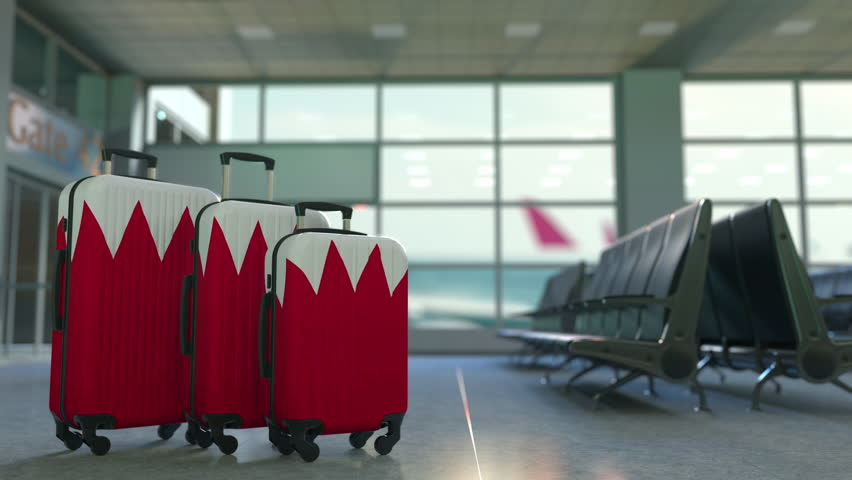 Travel suitcases with flag of Bahrain. Bahraini tourism conceptual animation | Shutterstock HD Video #1027890362