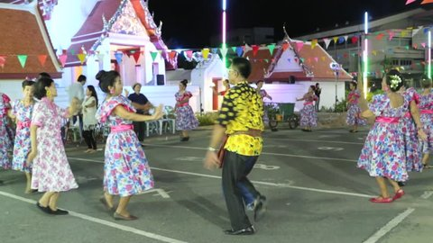 CHACHOENGSAO, THAILAND - APRIL 16, 2019 Many people do not know the name to join the dance at the charity event at the temple. On April 16, 2019 at Chachoengsao, Thailand