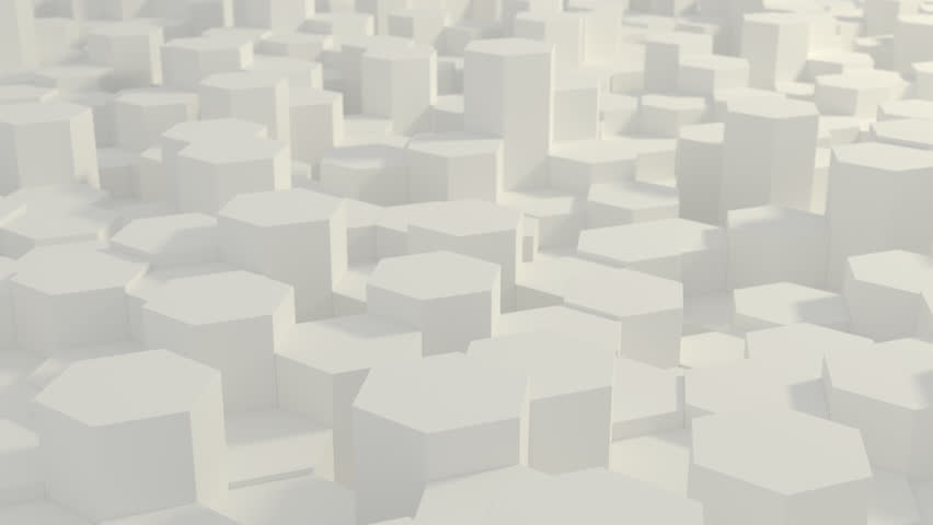 Abstract Honeycomb Background Loop wide angle. Light, minimal, clean, moving hexagonal grid wall with shadows. Loopable 4K UHD Animation. Royalty-Free Stock Footage #1027931384
