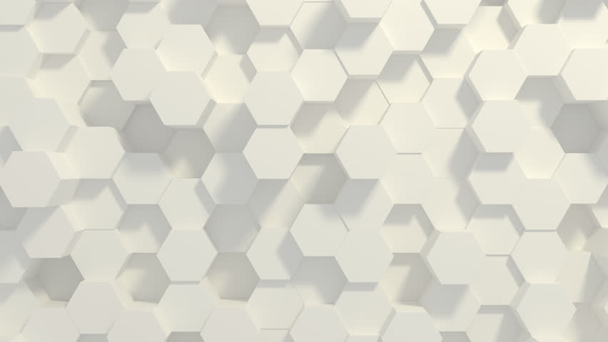Abstract Honeycomb Background Loop wide angle. Light, minimal, clean, moving hexagonal grid wall with shadows. Loopable 4K UHD Animation. Royalty-Free Stock Footage #1027931405