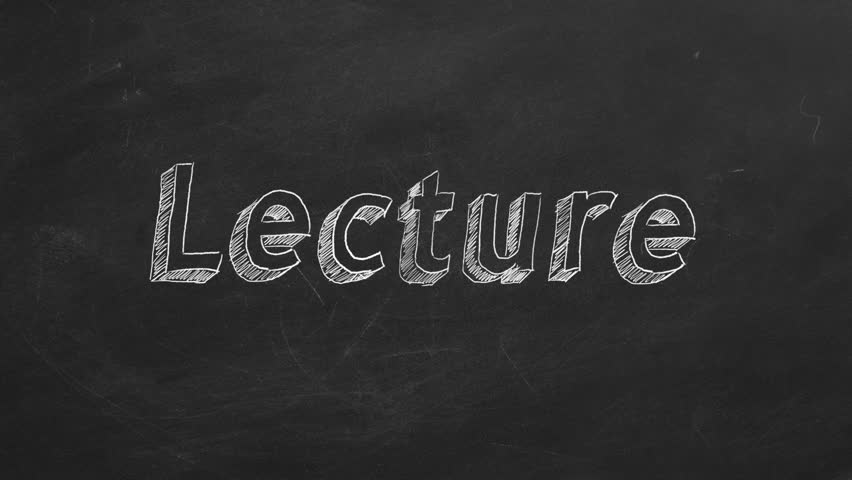 "Hand drawing and animated text ""Lecture"" on blackboard. Stop motion animation. 