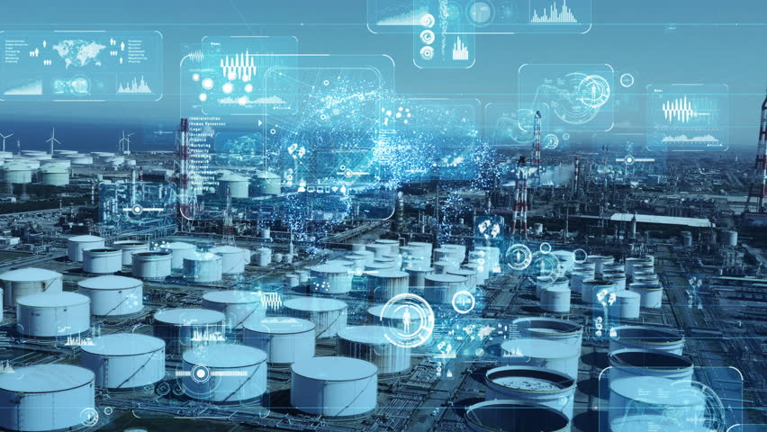 Modern industrial plant and communication network concept. Royalty-Free Stock Footage #1027963313