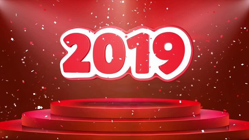 2019 Text Animation on 3d Stage Podium Carpet. Reval Red Curtain With abstract Foil Confetti Blast, Spotlight, Glitter Sparkles, Loop 4k Animation. | Shutterstock HD Video #1027984442