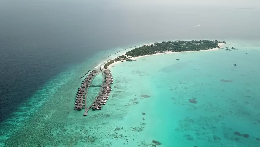 Aerial flying drone view of Maldives white sandy beach on sunny tropical paradise island | Shutterstock HD Video #1028005169