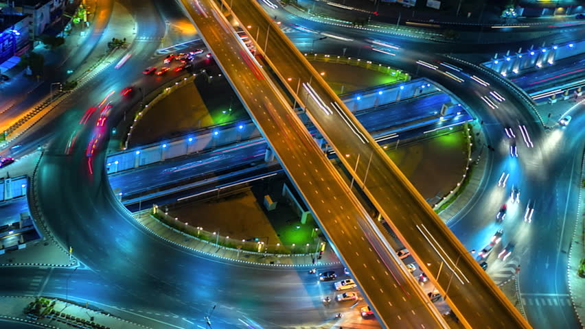 4K,Time lapse night  traffic of the expressway, motorway and highway in the detail of Circle intersection  | Shutterstock HD Video #1028005871