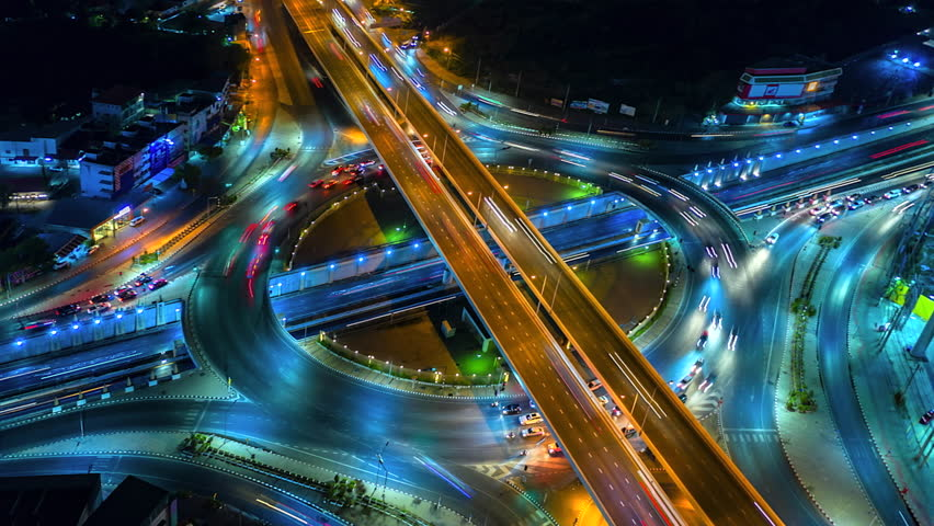 4K,Time lapse night  traffic of the expressway, motorway and highway in the detail of Circle intersection  | Shutterstock HD Video #1028005874