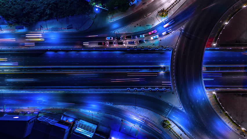 4K,Time lapse night  traffic of the expressway, motorway and highway in the detail of Circle intersection    Shutterstock HD Video #1028005877