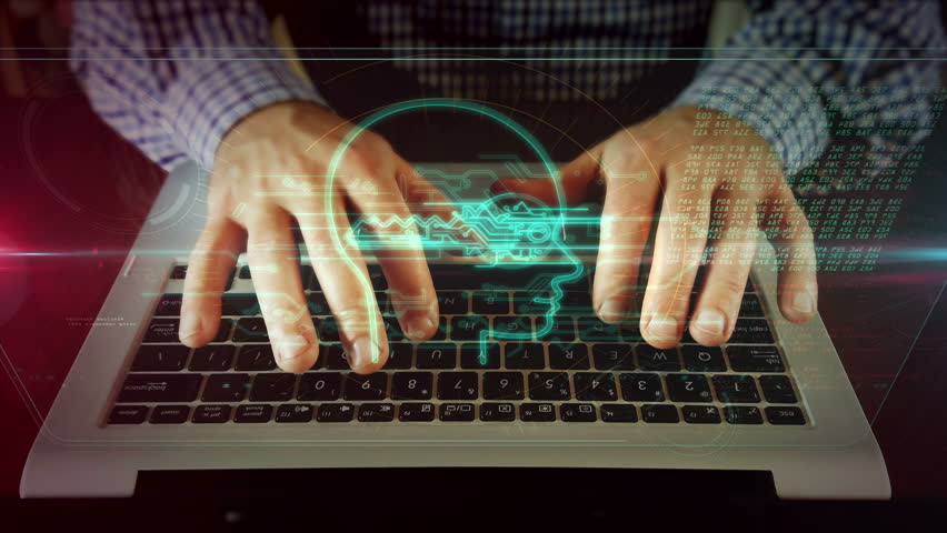 Man typing on laptop keyboard with digital privacy symbol on hologram screen. Front view of writing hands. Personal data protection, password safety, private key and cyber attack prevention concept.