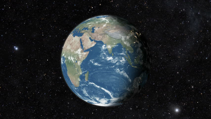Planet earth from space. Realistic world globe spinning slowly animation. Camera over Indian Ocean, Africa, Central America.