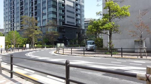 TOKYO, JAPAN. 2019 April 21st. Walking Street in Toyosu City