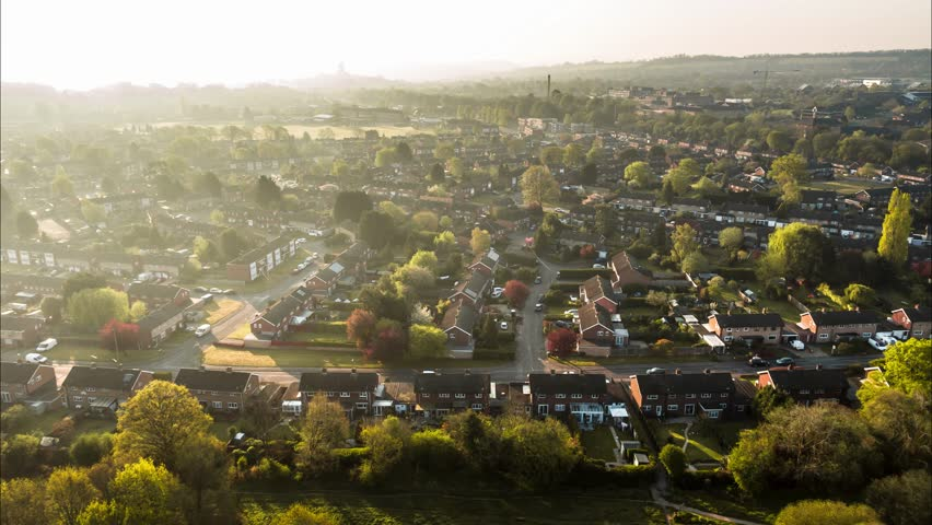 Aerial Shot of classic British housing estate, English houses and homes from above
