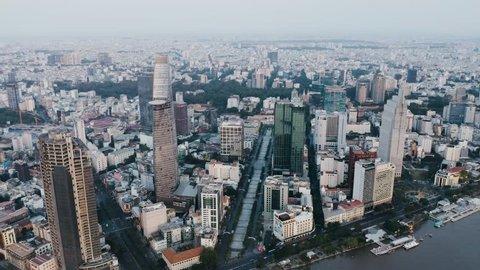 4k Aerial drone footage - Beautiful skyline of Saigon (Ho Chi Minh City) at sunrise.  Vietnam, Asia