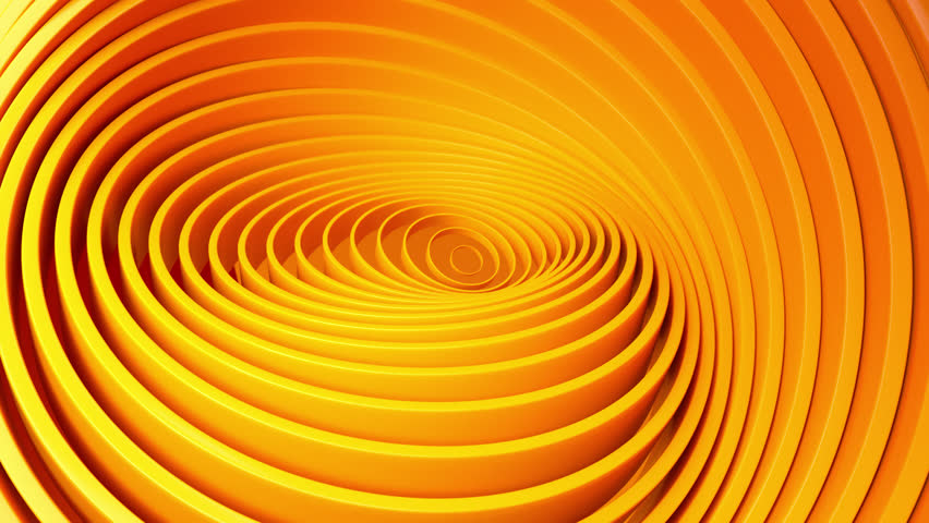 Abstract background with orange rotating rings. Geometric concept with colorful moving tubes. Motion design. Smooth hypnotic pattern. 3d loop animation. Seamless composition. Radial ripples. 4K UHD #1028051963