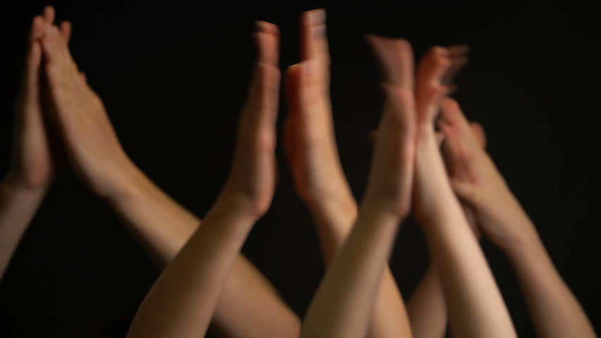 Raising hands with applause or clap on black background | Shutterstock HD Video #1028052650