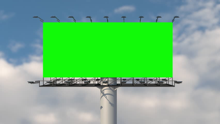 Green screen blank billboard outdoor advertising at blue sky with clouds time lapse background. Space available for advertising ro your message.
