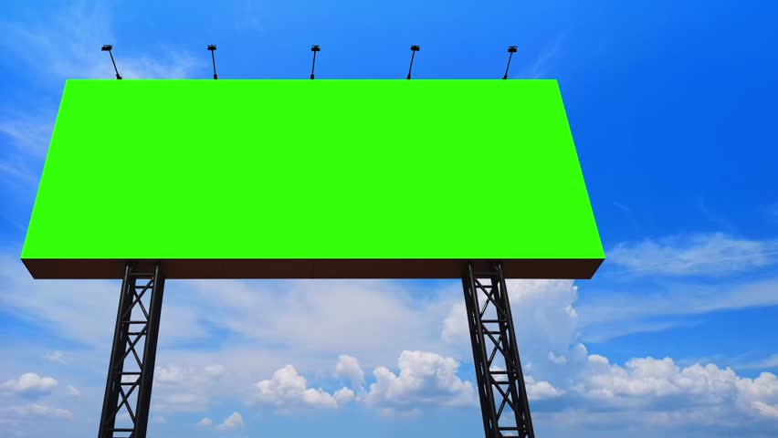 Billboard, Large blank billboard with empty screen and Beautiful Time lapse Nature Motion of cloudscape clouds passing blue sky backgrounds, Copy space banner ready for your advertisement design. | Shutterstock HD Video #1028057444
