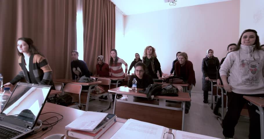 Women learning sign language in public education Center/Ankara,TURKEY 03.11.2016
