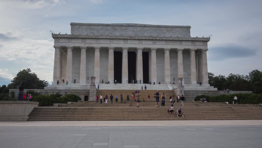WASHINGTON, DC - NOVEMBER 2016: Panoramic hyperlapse shot of the Lincoln Memorial and crowds of tourists around in Washington, DC, USA