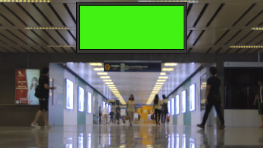 Advertising billboard green screen, for advertisement, at public in city.