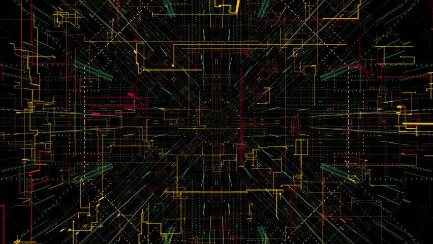 Seamless abstract receding geometric random lines and patterns 4K loop  | Shutterstock HD Video #1028099231
