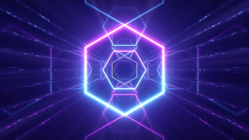 Flying through glowing neon lines creating a tunnel, blue red pink violet spectrum, fluorescent ultraviolet light, modern colorful lighting, 4k seamless loop cg animation | Shutterstock HD Video #1028099882