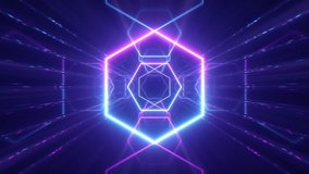 Flying through glowing neon lines creating a tunnel, blue red pink violet spectrum, fluorescent ultraviolet light, modern colorful lighting, 4k seamless loop cg animation