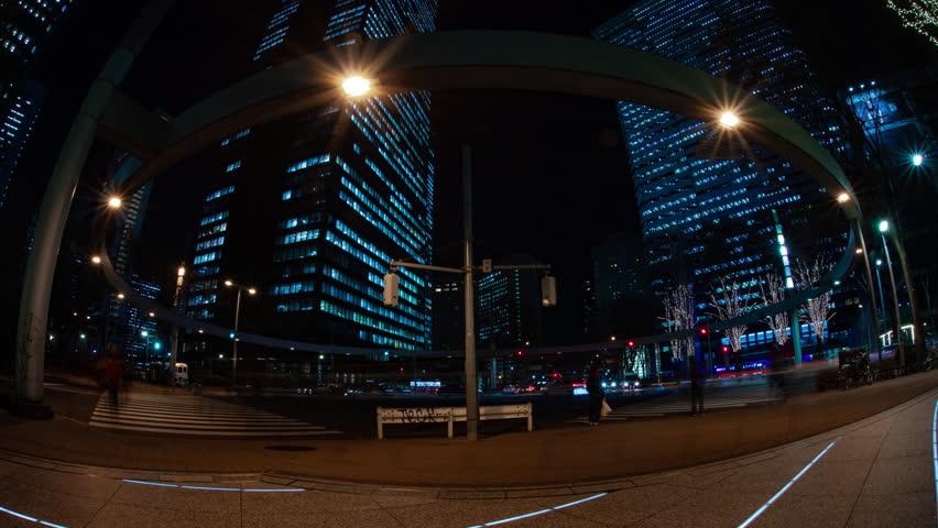 Night time lapse urban street at the business town. Shinjuku-ward Shinjuku Tokyo Japan 01.22.2019 : It is a city location in Tokyo. camera : Canon EOS 5D mark4 | Shutterstock HD Video #1028112740