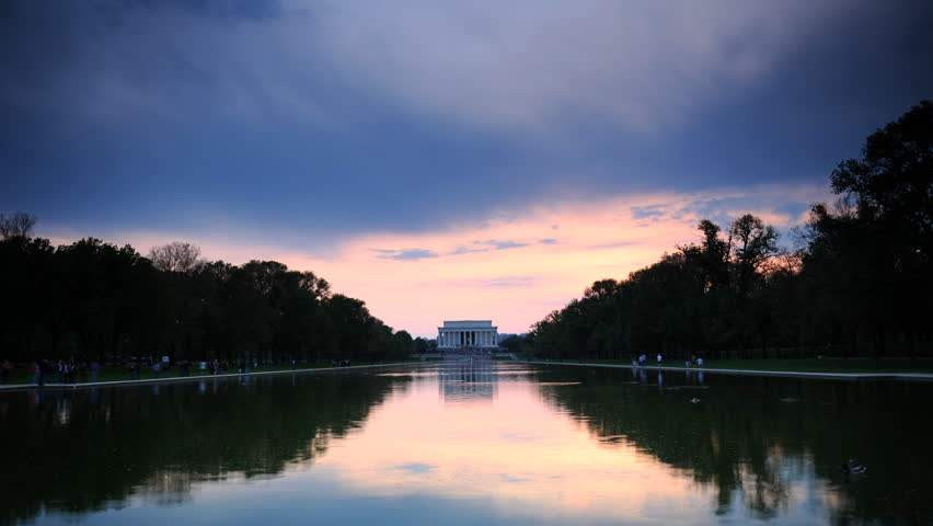 Time Lapse of Washington DC Lincoln Memorial Famous Touristic Attraction Sunset