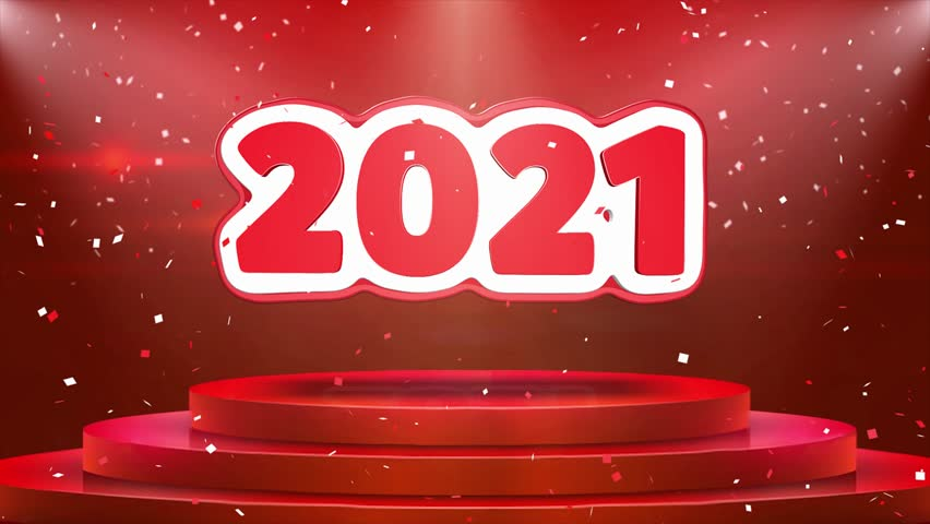 2021 Text Animation on 3d Stage Podium Carpet. Reval Red Curtain With Abstract Foil Confetti Blast, Spotlight, Glitter Sparkles, Loop 4k Animation. | Shutterstock HD Video #1028118911
