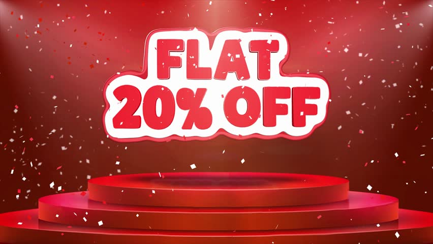 Flat 20% off Text Animation on 3d Stage Podium Carpet. Reval Red Curtain With Abstract Foil Confetti Blast, Spotlight, Glitter Sparkles, Loop 4k Animation. | Shutterstock HD Video #1028130155