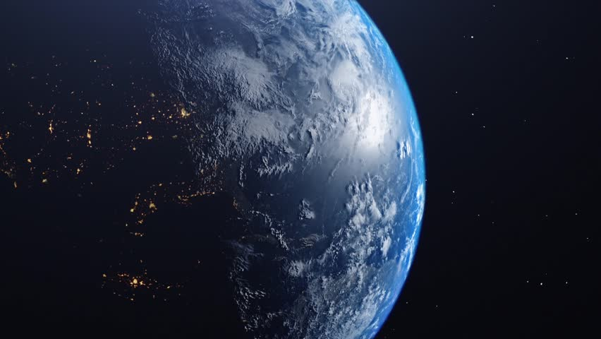 CG shot earth from space framed left side Africa and continents, cloud layer, star universe background sun reflection on atmosphere   Shutterstock HD Video #1028141585