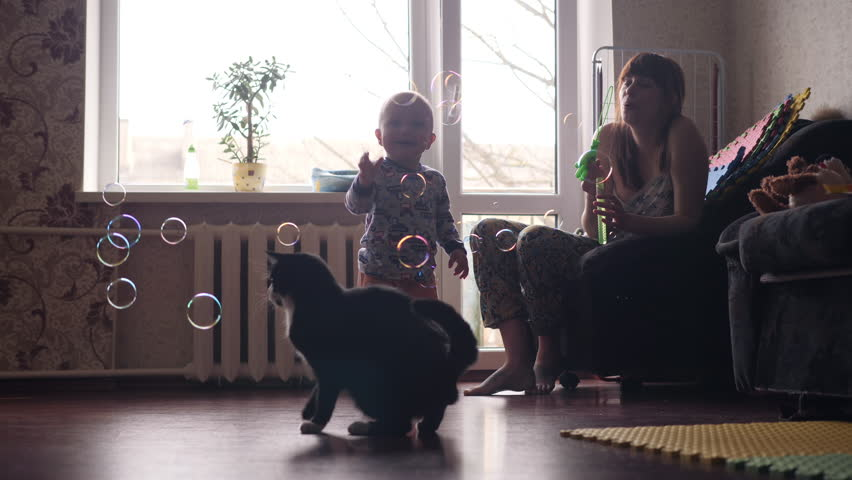 A young beautiful woman blowing soap bubbles inside the room with big window on background and a little baby boy and a black cat are catching this bubbles in slow motion 4K video