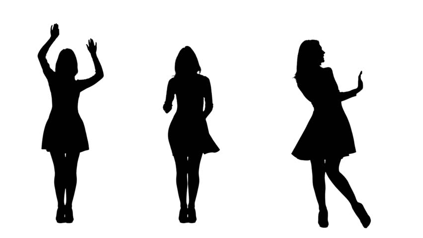 Girl dancing incendiary dance. White background. Silhouette