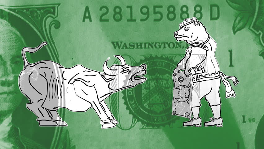 Bull or Bear Market: Bear dressed as matador taunts a bull with green money.