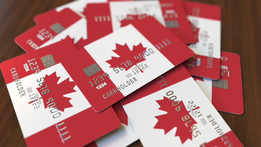 Pile of credit cards with flag of Canada. Canadian banking system conceptual 3D animation Royalty-Free Stock Footage #1028199713
