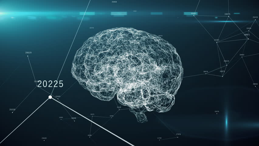 Digital brain artificial intelligence AI big data deep learning computer machine with machine code, seamless loop 3d animation | Shutterstock HD Video #1028200622