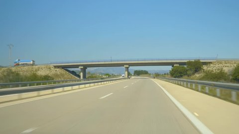 Time lapse of Driving along the highway in spain