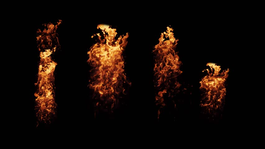 Fire elements filmed on high speed  camera in 4K, flamethrower isolated on black background overlay for compositing and VFX. Set of fire Elements from bottom to top
