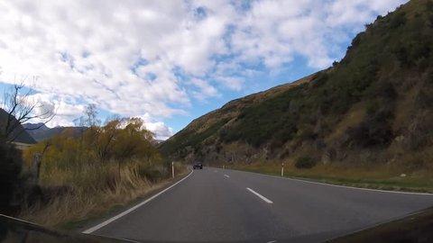Driving View of Arthur's Pass, New Zealand