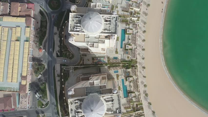 Aerial view of The Pearl Qatar skylines, Doha, Qatar | Shutterstock HD Video #1028239100