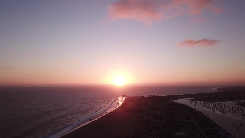 California beach during a summer sunset. Beautiful purple and pink sky with clouds and waves crashing on the shore. Aerial drone video.  | Shutterstock HD Video #1028277899