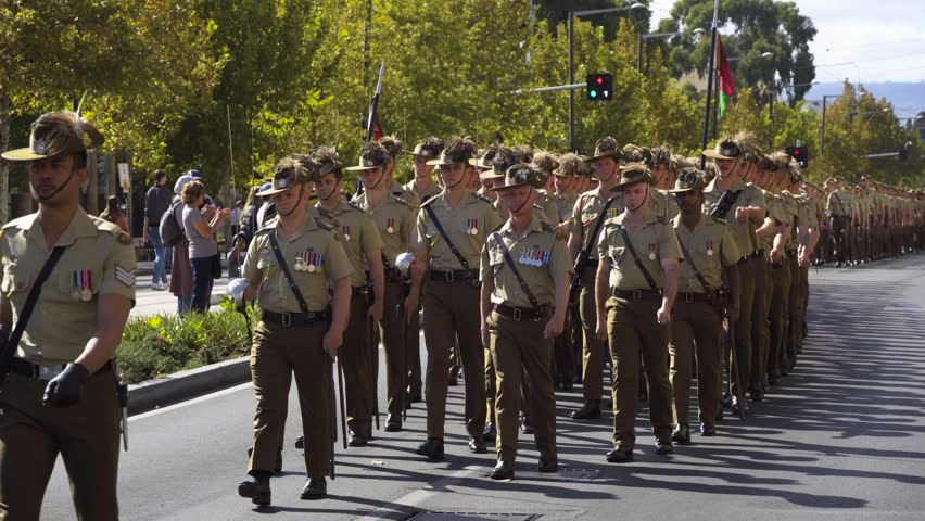 War Veterans Parade on Anzac Day 2019 Adelaide South Australia