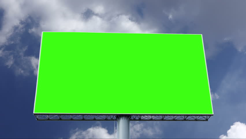 Advertising billboard green screen with blue sky and white cloud, timelapse | Shutterstock HD Video #1028286626