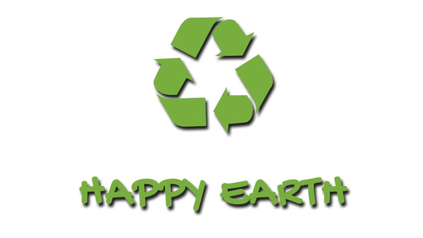 Animation of recycling icon with 'green' slogan - Happy Earth. Green on white | Shutterstock HD Video #1028295950