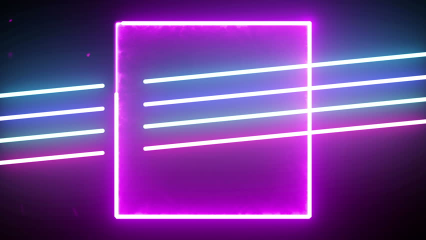 Futuristic 4k neon light abstract seamless background blue purple spectrum looped animation fluorescent ultraviolet light glowing neon line Abstract background web neon box circle pattern 4k screens