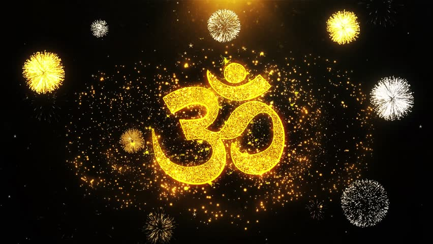 Om or Aum Shiva Text Sparks Particles Reveal from Golden Firework Display explosion 4K Background | Shutterstock HD Video #1028323364